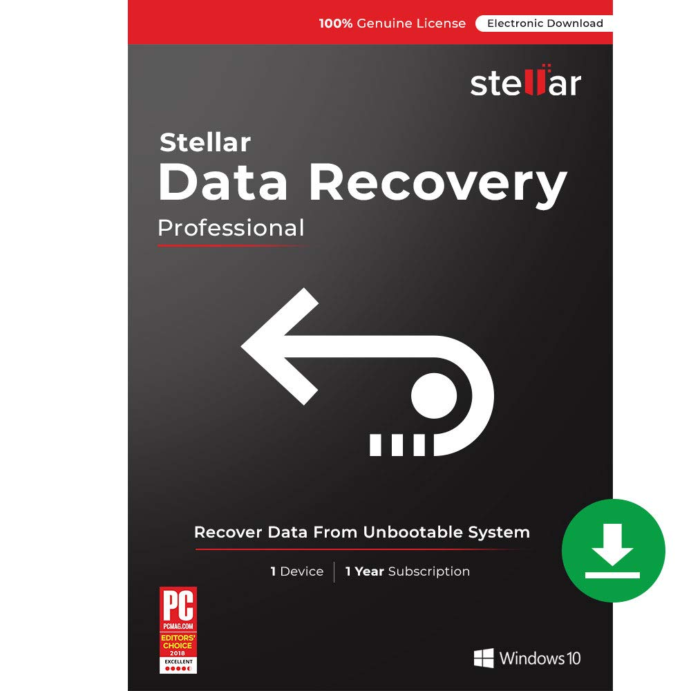 Stellar Data Recovery Software   for Windows   Professional   Recover Lost or Deleted Photos, videos & audio files   1 Device, 1 Yr Subscription [PC Download]