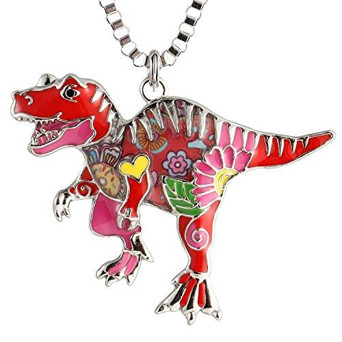 Luckeyui Cute Dinosaur Necklace for Women Girls Pink Enamel Tyrannosaurus Rex Pendants used as Keychain