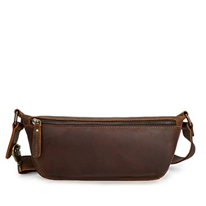 e1679be52a54 Waist Bag Hip Fanny Pack Handmade Leather Wallet,Cross Section Youth Fashion  Retro Men's Leather Bag Travel Running Walking: Amazon.ca: Home & Kitchen