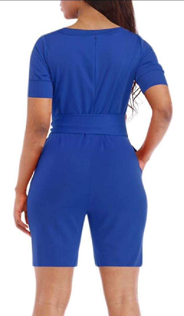 HTOOHTOOH Women Fashion/'s Summer Solid Casual Short Sleeve Rompers Short Jumpsuits