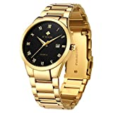 WWOOR Store Men's Watch Analog Quartz Waterproof Watch with Date Fashion Business Stainless Steel Casual Gift Wrist Watches (Gold Black)