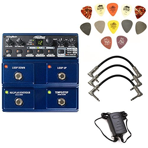 Digitech JML2 JamMan Stereo Looper and Sampler Pedal Bundle with 3 Free Patch Cables and Dunlop PVP101 Pick Pack