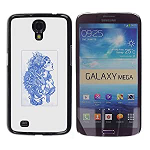 Caucho caso de Shell duro de la cubierta de accesorios de protección BY RAYDREAMMM - Samsung Galaxy Mega 6.3 - Azul Burlesque Señora