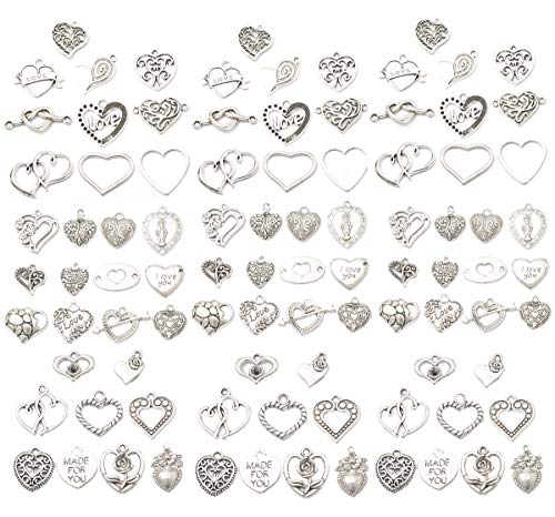 - Assorted 93pcs Heart Shaped Alloy Pendants Love Wine Glass Charms Bracelet Necklace Beads Wine Glass Charms for Jewelry Making Birthday Christmas Valentine's Gift