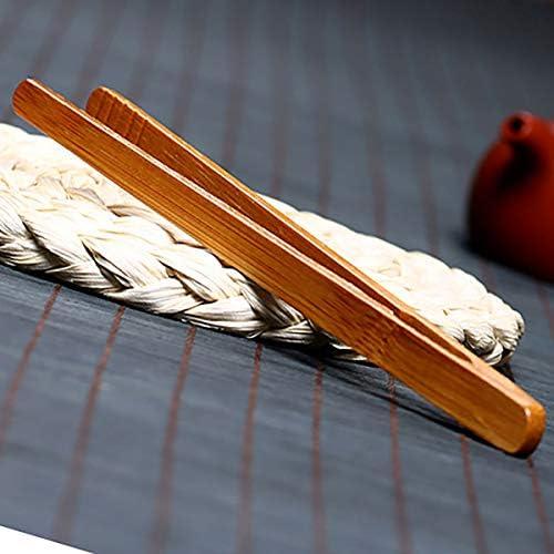 Gresanhevic 5パックトーストパンピクルスティーバンブーキッチントング(6インチ)のためのクッキングトーストバンブートング 5 A
