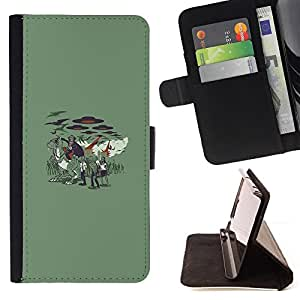 KingStore / Leather Etui en cuir / Samsung Galaxy S4 Mini i9190 / Vampire Zombie Attack