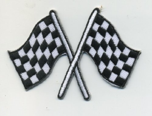 CHECKERED RACING FLAGS PATCH BADGE HOT ROD DRAG RACE MUSCLE CAR KUSTOM Iron on Sew Applique Embroidered patches by Patch - Checkered Badges
