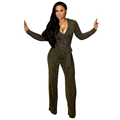 3f13dbff341 Kafiloe Womens Sexy Sparkly Long Sleeve Party Jumpsuit Elegant Bodycon Wide  Leg Pants Rompers Clubwear with