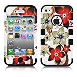 iPhone 4S Case, MagicMobile Hybrid Impact Shockproof Cover Hard Armor Shell and Soft Skin Layer [ Orange Flowers Pattern - Silicone Color Black] with screen protector and stylus