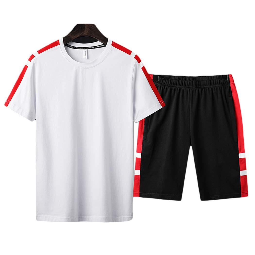xzbailisha Men's 2 Piece Outfits Loose Crewneck Short Sleeve T-Shirts & Shorts Tracksuit White Black by xzbailisha