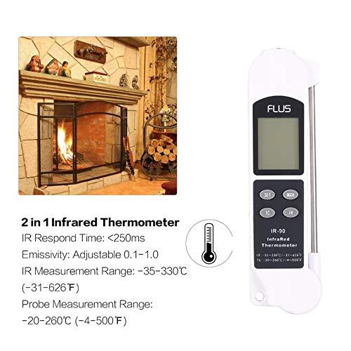 CloverUS FLUS IR-90 Digital 2 in 1 IR Contact Infrared Thermometer Temperature Meter
