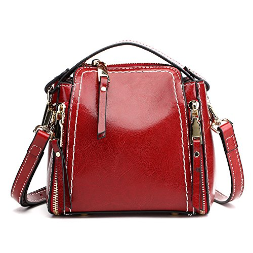 Brown Size 17cm Leather Wine Water Red Mini Leodika Casual Lady Shoulder Handbag Bag Satchel BZpzvq