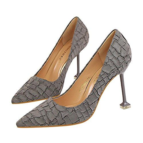 Makegsi Donna Scarpe A Punta In Pelle Scamosciata Con Tacco Alto Stiletto Sexy Slip On Dress Tacco Grigio