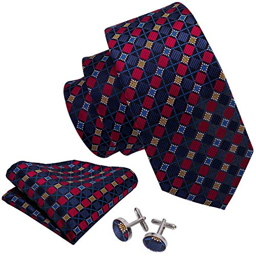 Barry.Wang Ties Check Mens Necktie Set with Hanky Cufflinks Classic (Blue Red)