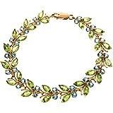 14K Solid Rose Gold Butterfly Bracelet with Peridot & Blue Topaz