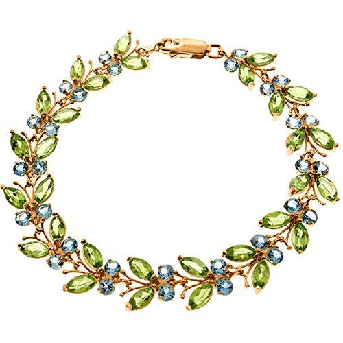 14K-Solid-Rose-Gold-Butterfly-Bracelet-with-Peridot-Blue-Topaz