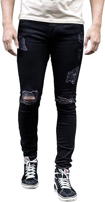 Wanyangg Skinny Jeans Pantalones Rotos Vaqueros Hombres