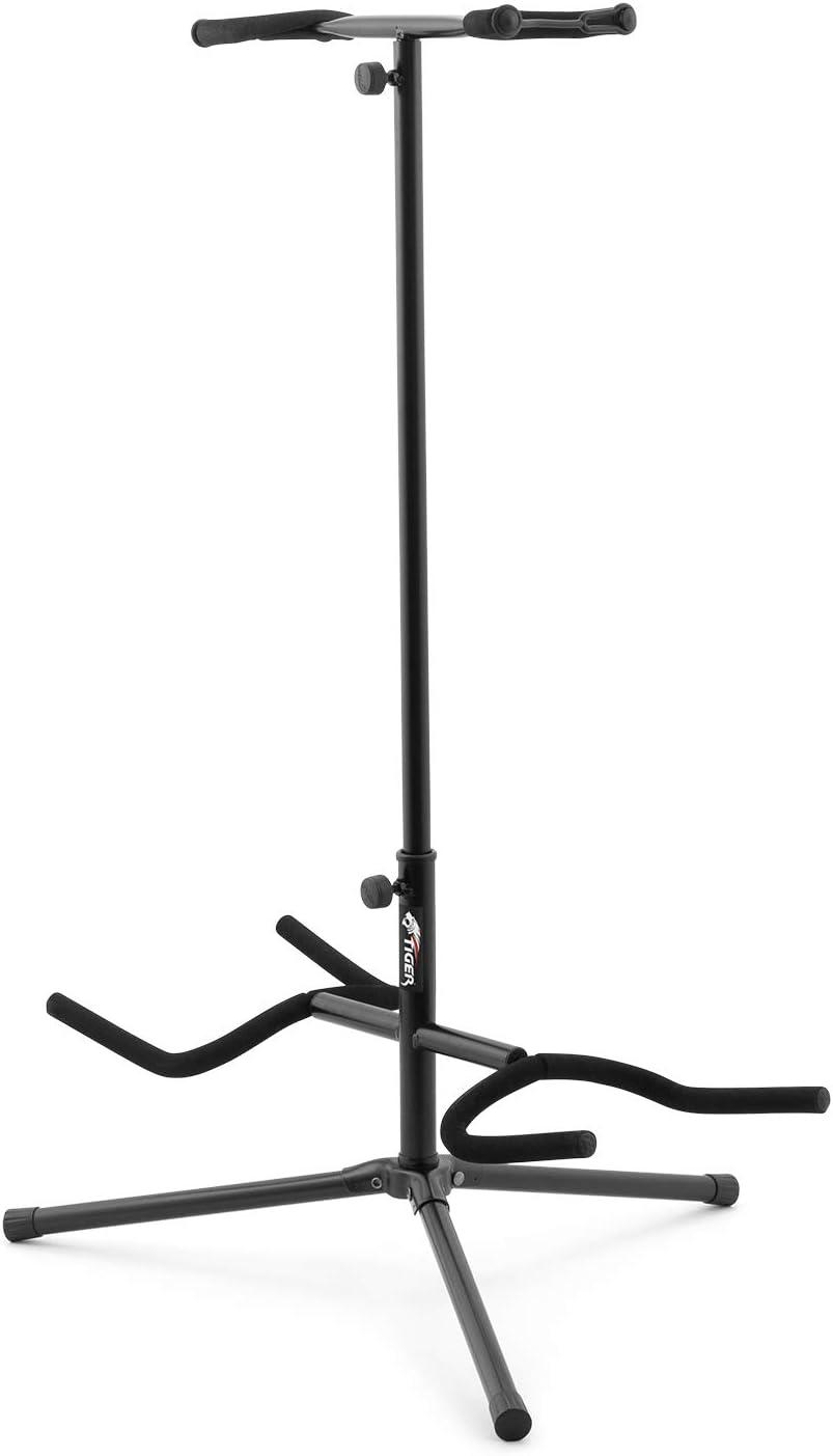 Tiger GST100-BK - Soporte para guitarra eléctrica doble con altura ajustable para el cuello, color negro
