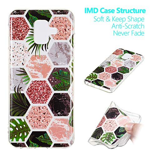 Yobby Samsung Galaxy A6 2018 Phone Case,Samsung Galaxy A6 2018 Soft Case Cute Glossy Jungle Marble Pattern Slim Flexible Rubber Silicone Shockproof Protective Back ()