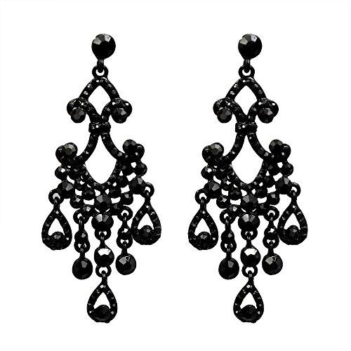 Iris Island Women Black Jet Crystal Rhinestone Dangle chandelier Earrings for Proms Wedding ()