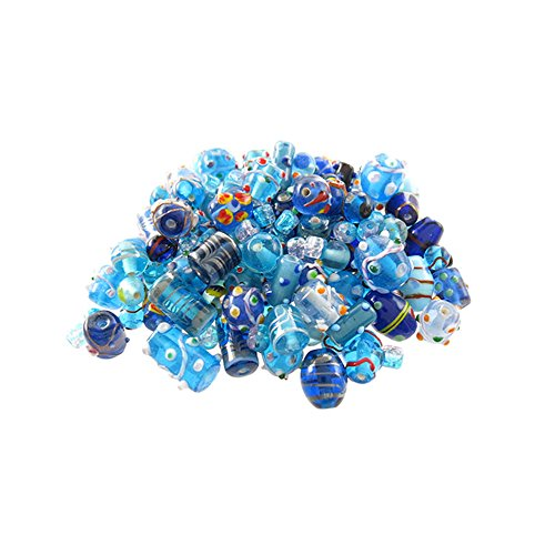 Glass Beads for Jewelry Making for Adults 120-140 Pieces Premium Quality Lampwork Murano Loose Beads for DIY and Fashion Designs – Wholesale Jewelry Craft Supplies (BLUE COMBO - 10 (Glass Bead Making Kit)