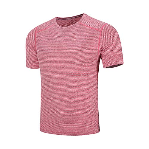 Men's Summer Casual O-Neck T-Shirt Fast-Dry Breathable Top Fitness Sport Blouse Outdoor Beach Shirt Watermelon -