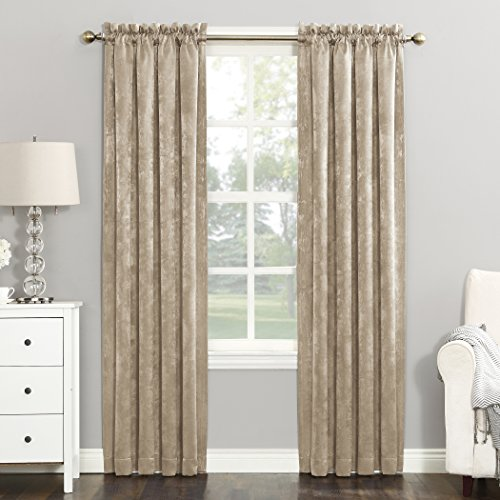 "Sun Zero Cassidy Textured Velvet Blackout Rod Pocket Curtain Panel, 52"" x 84"", Sand"