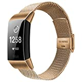 Alfheim Wrist Strap Compatible with Fitbit Charge 2 - Fashion & Simple Adjustable Super-Soft ultra-thin Stainless Steel Metal Mesh Bands with Double Safe Buckle for Men Women