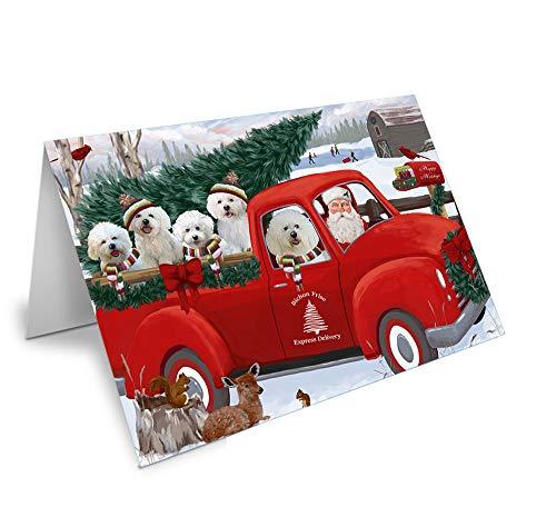 Christmas Santa Express Delivery Bichon Frises Dog Family Greeting Card GCD68867 (10)