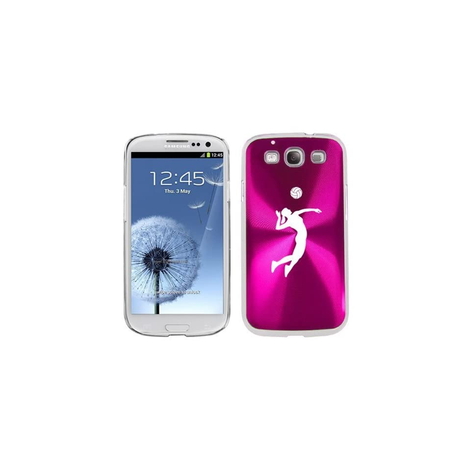 Hot Pink Samsung Galaxy S III S3 Aluminum Plated Hard Back Case Cover K1014 Female Volleyball Player