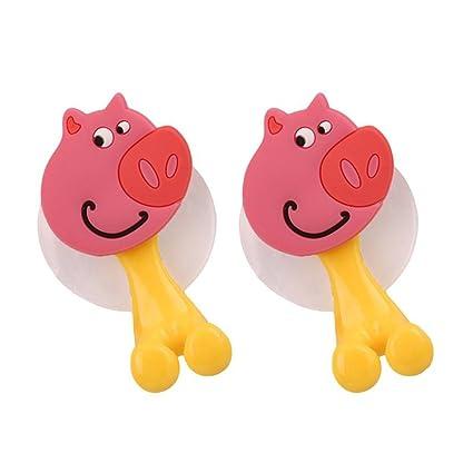 bestomz 2 unidades para cepillo de dientes con ventosa dibujos animados animales para niños