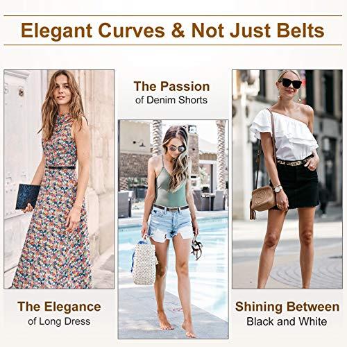 Women Skinny Belts Gold Buckle Black Leopard Leather Thin Belt for Dress Jeans Pants