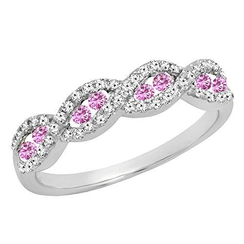 (Dazzlingrock Collection 10K Round Pink Sapphire & White Diamond Ladies Anniversary Wedding Band, White Gold, Size 6)