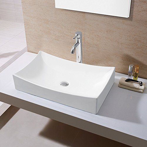 Kes Bathroom Sink Vessel Sink Porcelain 25 Rectangular Above Counter White Countertop Bowl