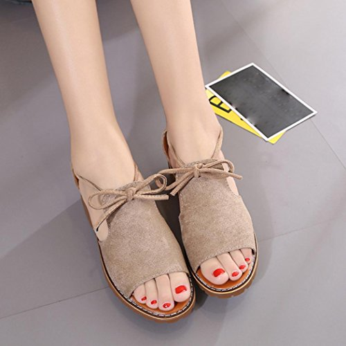 Bovake Chaussures Femme Sandales Casual Mouth Kaki Carré Vacances Sandales Up Lace Été Mode Fish Talon BCqprwBO