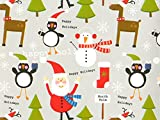 Pack of 1, Holiday Buddies 18'' x 417' Half Ream Roll Gift Wrap for Holiday, Party, Kids' Birthday, Wedding & Special Occasion Packaging