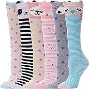 Girls Knee High Funny Socks Crazy Fun Animal Tall Boot Long Novelty Socks for Kids Child 6 Pack