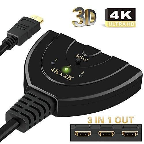 HDMI Switch 4K,ABLEWE 3 Port 4K HDMI Switch 3x1 Switcher Splitter with Pigtail Cable Supports Full HD 4K 1080P 3D Player