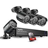 SANNCE 8CH 1080N DVR Security Camera System with 1TB Hard Drive and (4) 720P Night Vision Surveillance Cameras, IP66 Weatherproof, P2P Technology/E-Cloud Service, QR Code Scan Remote Access