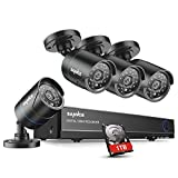 SANNCE 8CH 1080N DVR Security Camera System with 1TB Hard Drive and (4) 720P Night Vision Surveillance Cameras, IP66 Weatherproof , P2P Technology/E-Cloud Service, QR Code Scan Remote Access