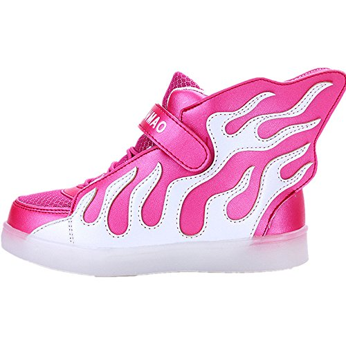 LED Light Up Shoes USB Flashing Sneakers for Kids Boys Girls (Pink 1 M US Little Kid) by Jedi fight back