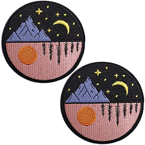 TACVEL Day and Night Embroidered Patches Iron on / Sew on Emblem Patches Applique for Jackets, Jeans, Backpacks, Caps