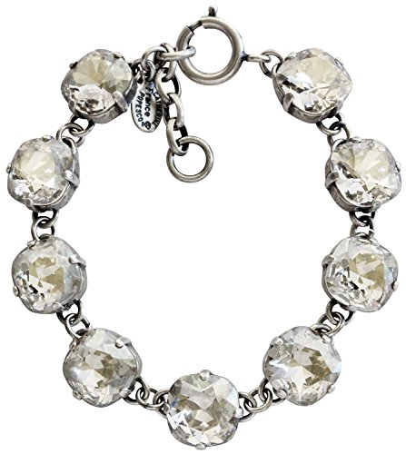 Catherine Popesco Silvertone Shade Crystal Round Bracelet, 7