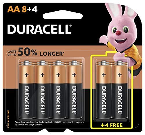 Duracell 32047 Type AA Alkaline Batteries, pieces of 12, 8 + 4 – (Pack of1)