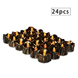 Youngerbaby 24Pcs Retro Realistic Flicker Flameless Flickering LED Battery Operated Candles Electric Light Candle Led Tea Lights for Xmas Wedding Party Christmas Home Decor