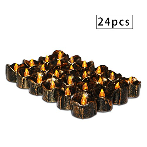 Flameless Candle Tear Drop LED Votive Candles Electric Brown Wax Dripped Flickering Tealights for Seasonal Festival Christmas Halloween Home Garden Decor, Amber Yellow Bulb, Pack of 24 by Freewander