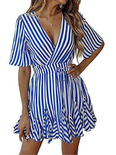 (SHIBEVER Summer Sexy Mini Wrap Dresses for Women V Neck Beach Casual Striped Polka Dot Ruffle Hem Pleated Boho Sun Dress Blue S)