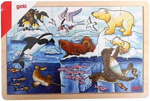 Goki Juego de Mesa Puzzle DE Madera 24 Piezas Modelo Animales Polares 20 x 30 cm Niños + 3 años: Amazon.es: Juguetes y juegos