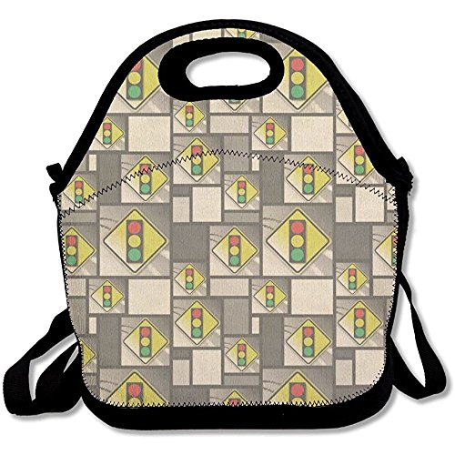 Starorland Stoplight Ahead Stylized Yellow Grey Caution Sign Lunch Bag Custom Gorgeous For Womens