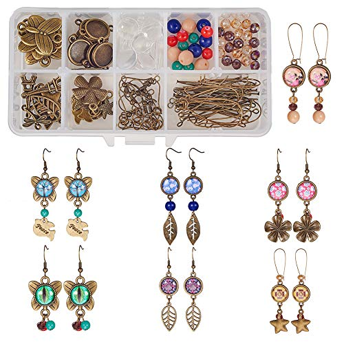 SUNNYCLUE 1 Box DIY 10 Pairs 12mm Glass Dome Cabochon Earrings Making Starter Kits Photo Jewelry Supplies Crafts Earring Wire Hooks, Cabochon Settings, Charm Beads, Antique ()